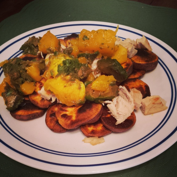 "Lunch! Sweet potato ""nachos"" w/chicken, mango & avocado."